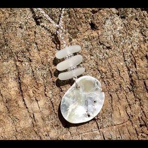 Jewelry - SEAGLASS, ABALONE Shell & Bali Bead Necklace